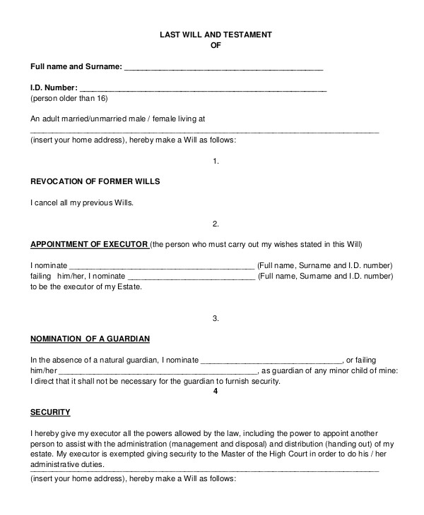 Oum Document Templates Last Will and Testament Template Pdf Images Template