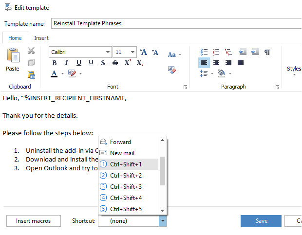 paste template outlook