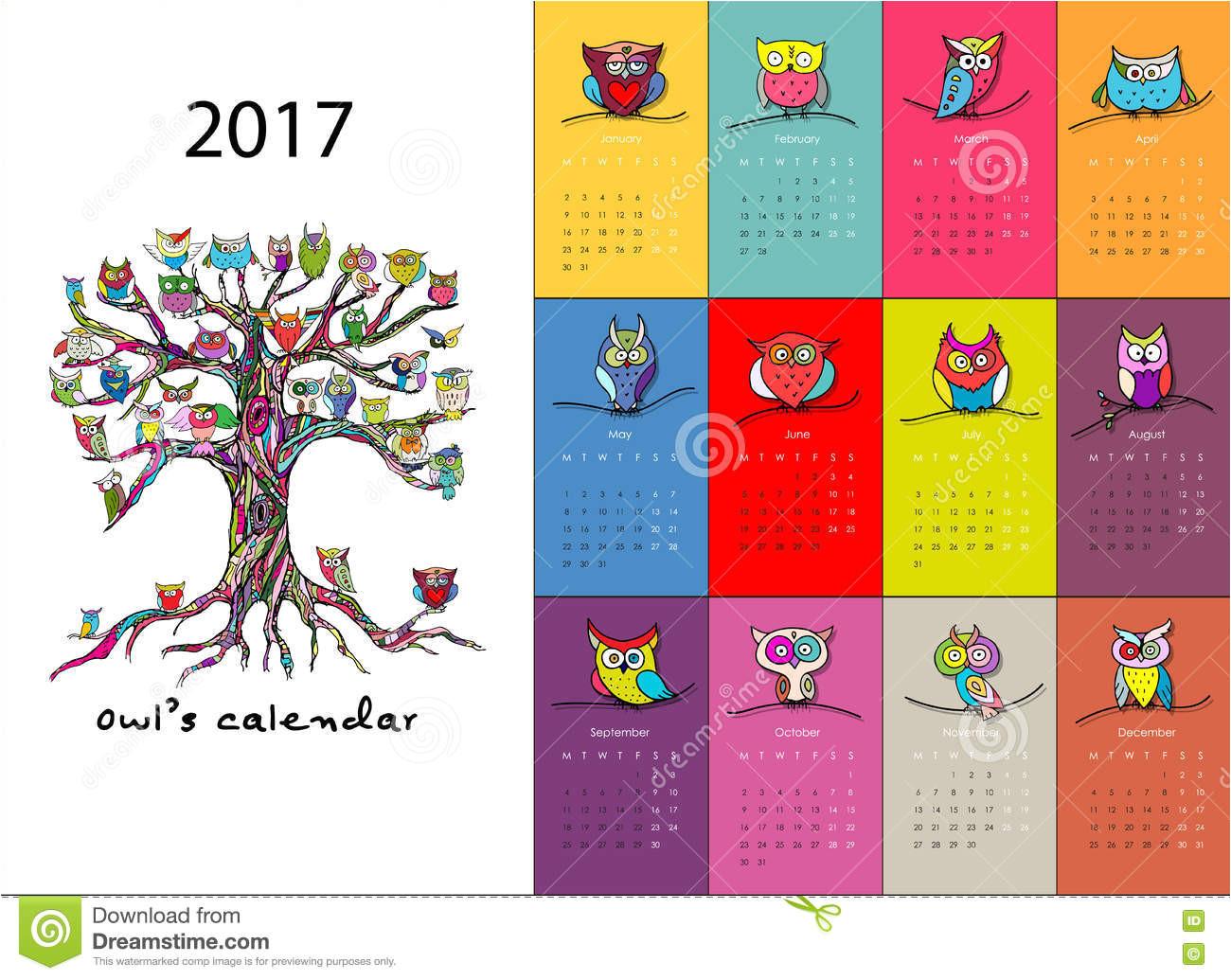 Owl Calendar Template Owls Calendar 2017 Design Stock Vector Image 82138151