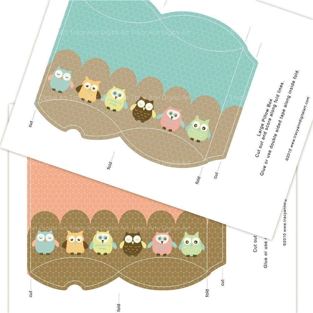 Owl Pillow Box Template Owl Printable Pillow Boxes sophie by Tracyanndigitalart On