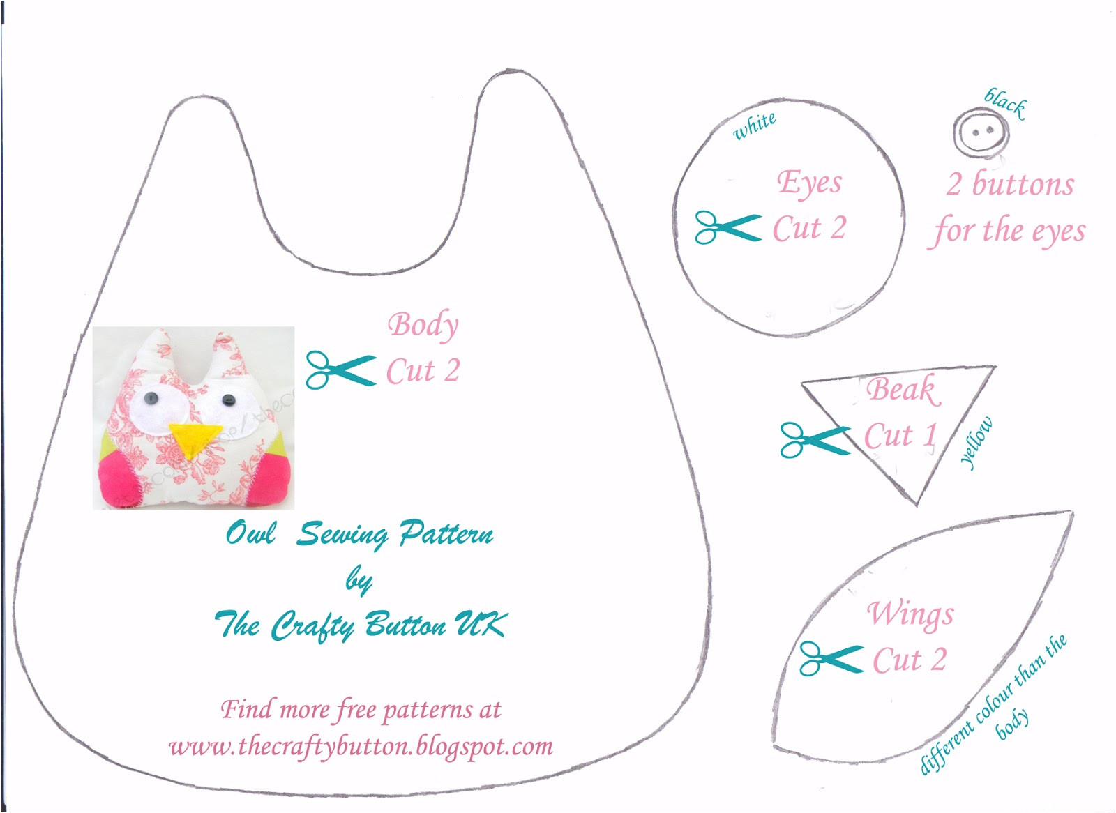 Owl Templates for Sewing the Crafty button