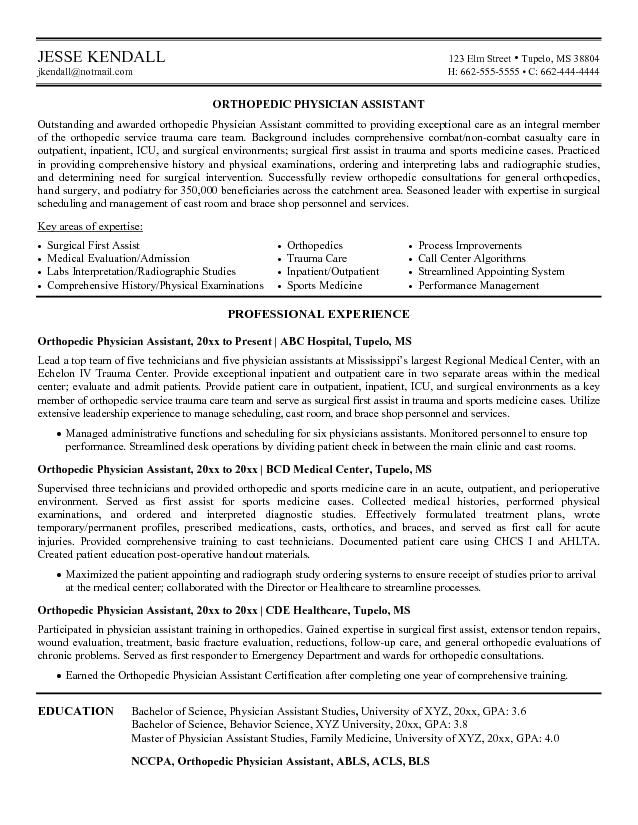 Pa Cv Template Cv Examples Our 1 top Pick for orthopedic Physician