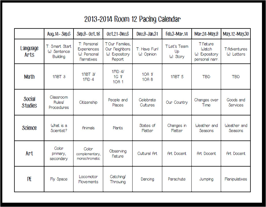 Pacing Calendar Template for Teachers today In First Grade August 2013