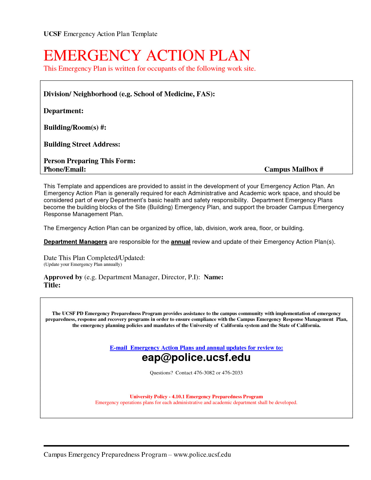Padi Emergency Action Plan Template Emergency Action Plan Template Cyberuse