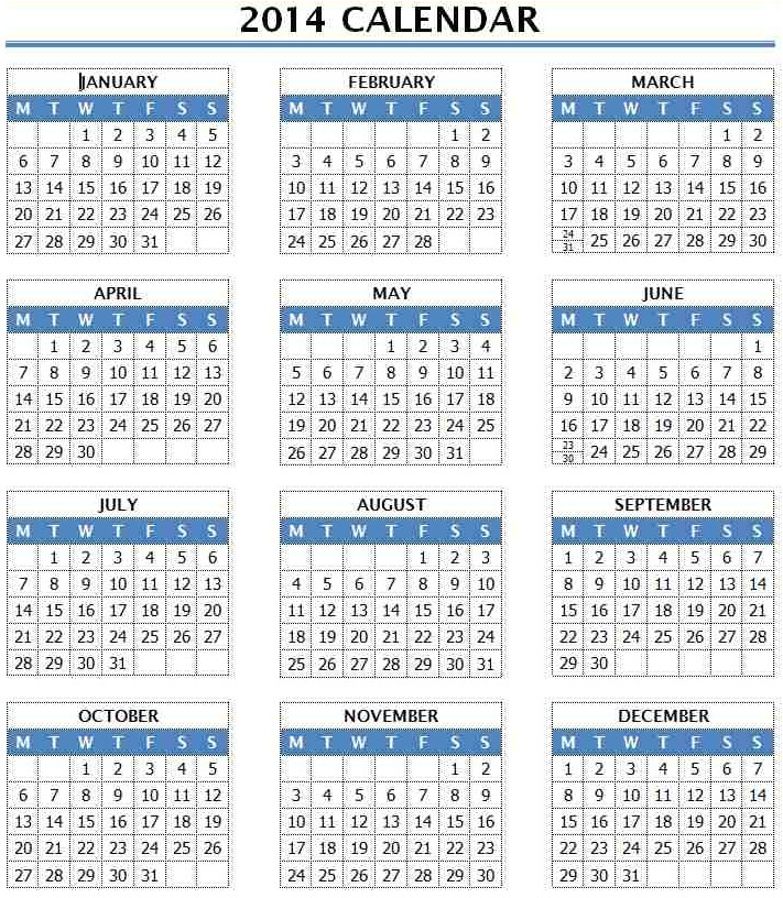 2014 year calendar template 12 months in one page