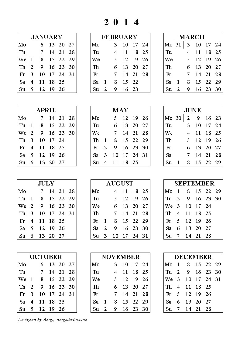 2014 yearly calendar one page