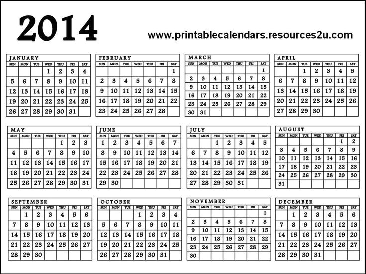 post year calendar 2014 printable one page 355644