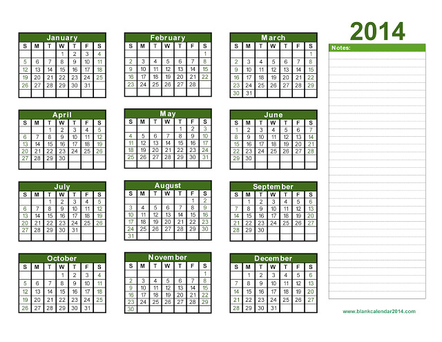 printable 2014 calendar one page