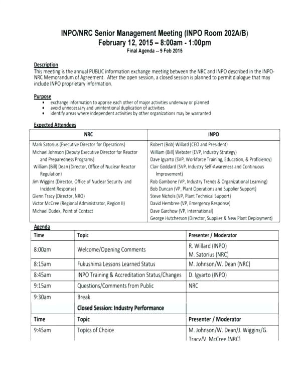 operations meeting template new ops agenda sample minutes taken at a
