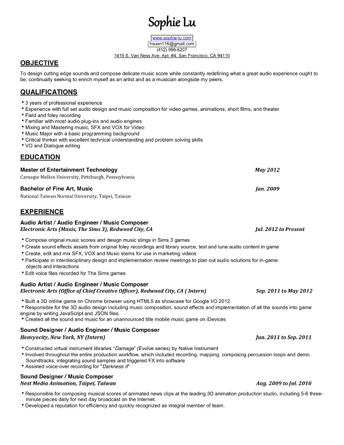 video game audio engineer cover letter