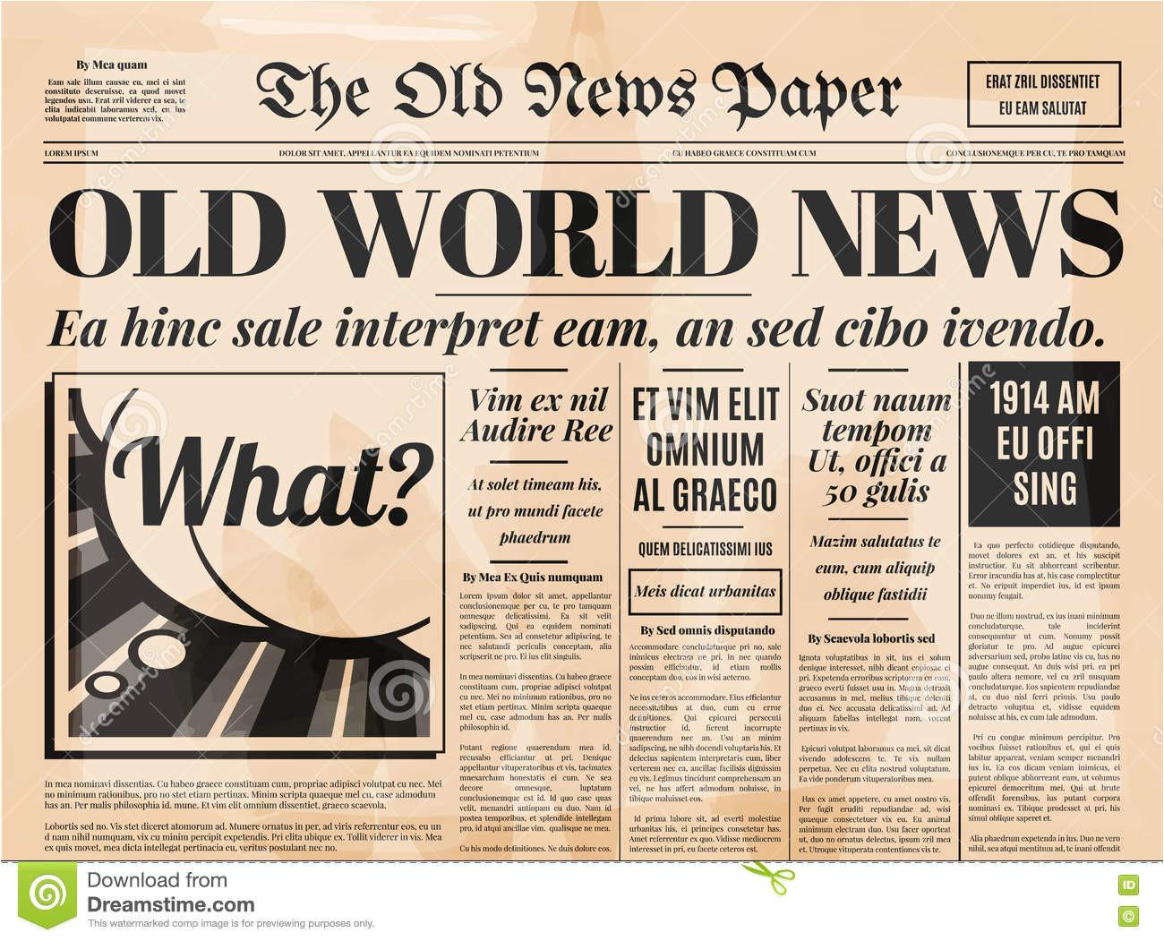 stock illustration old newspaper design vector template vintage retro background text images image77345579