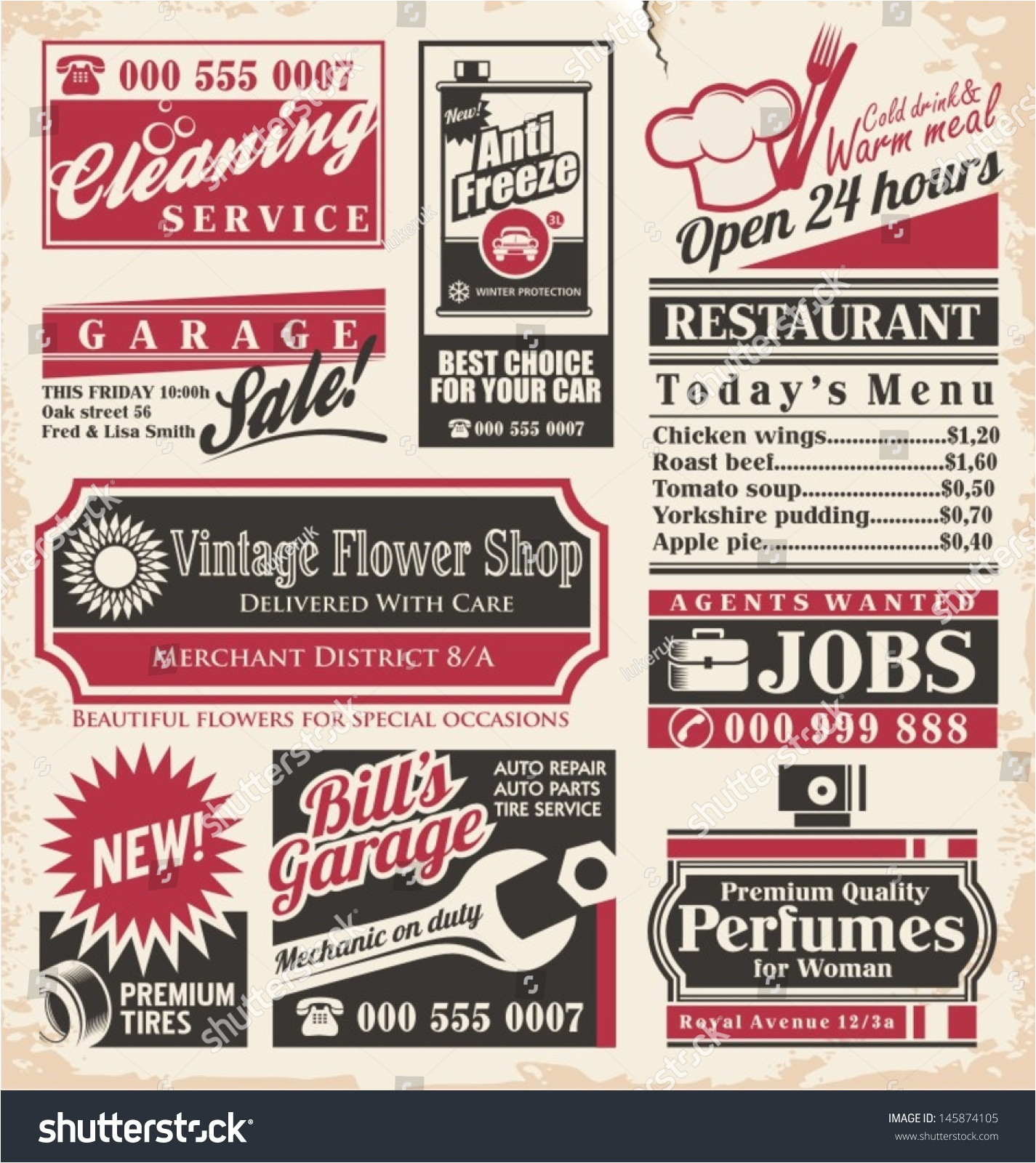 retro newspaper ads design template vector 145874105