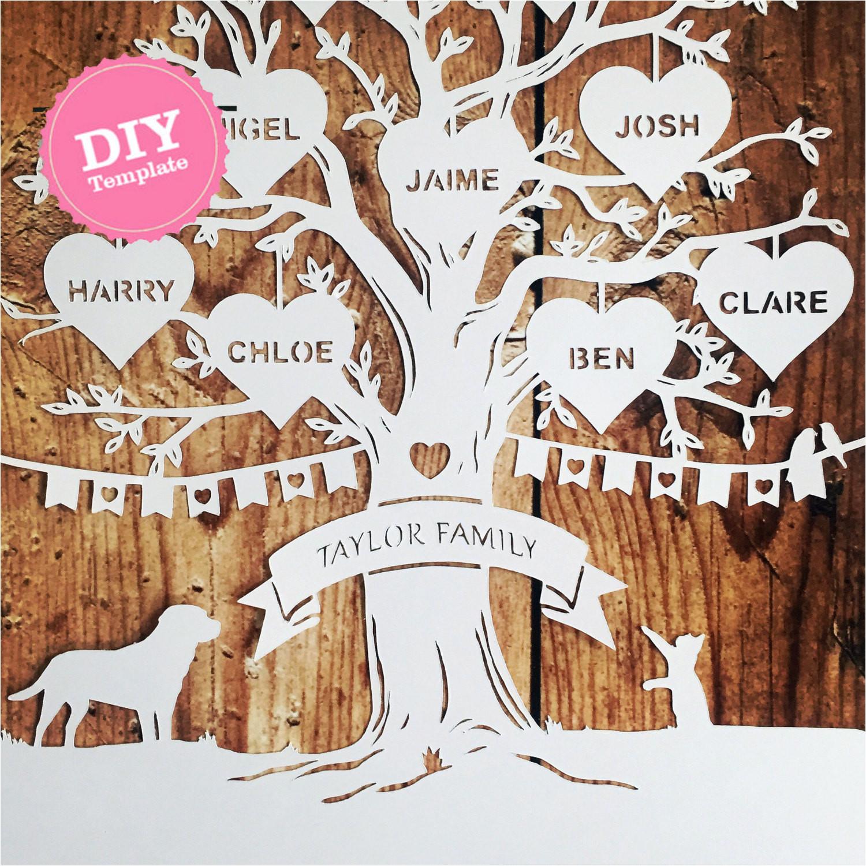 diy family tree papercutting template