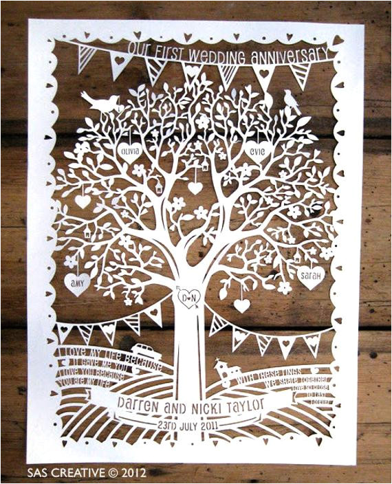 family tree first wedding anniversary