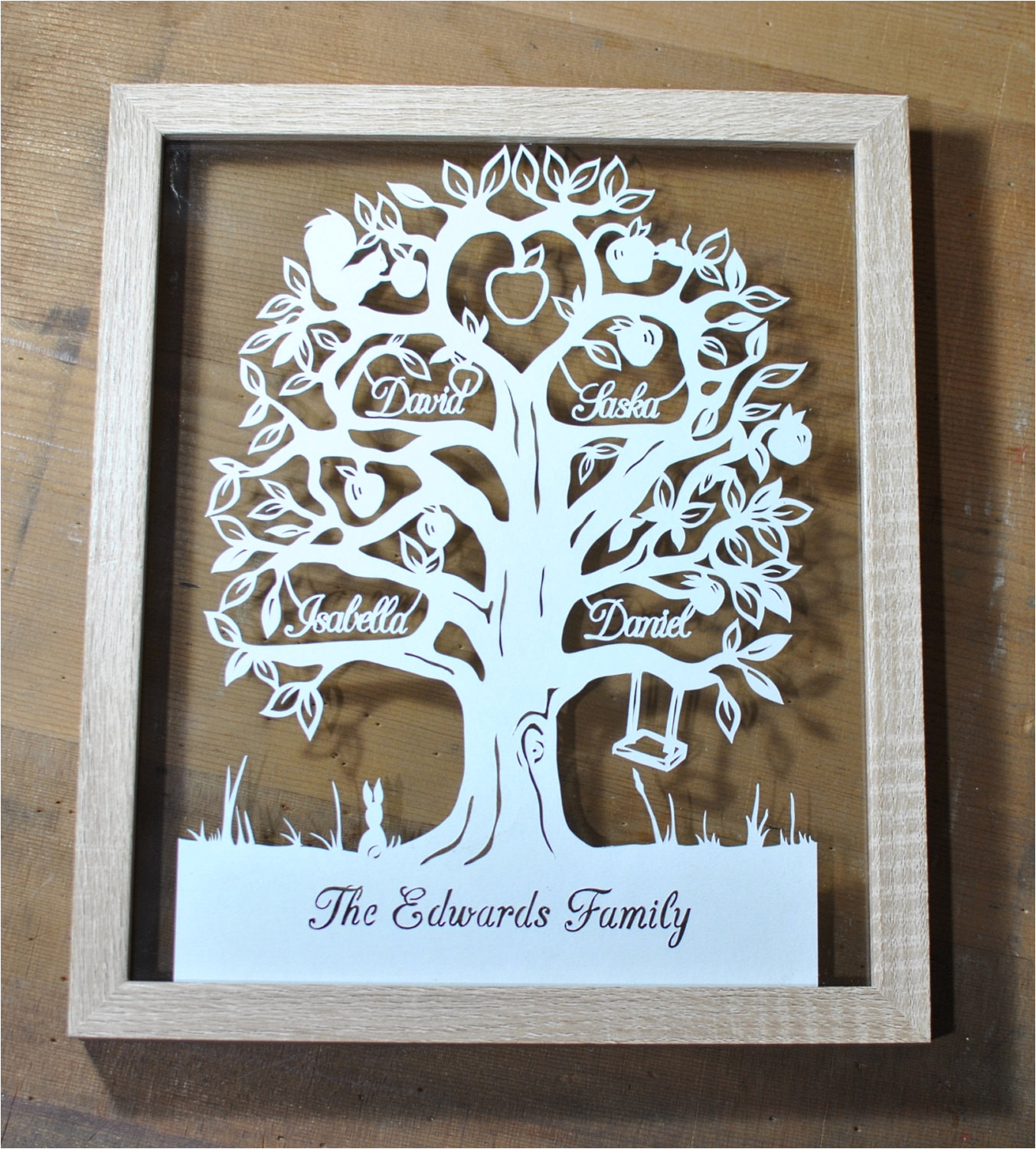 family tree papercut for 4 names