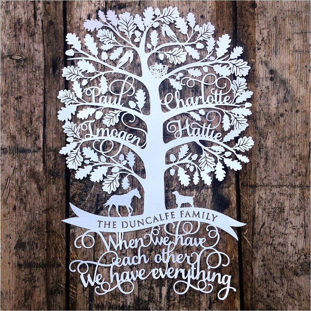 new family tree papercut design