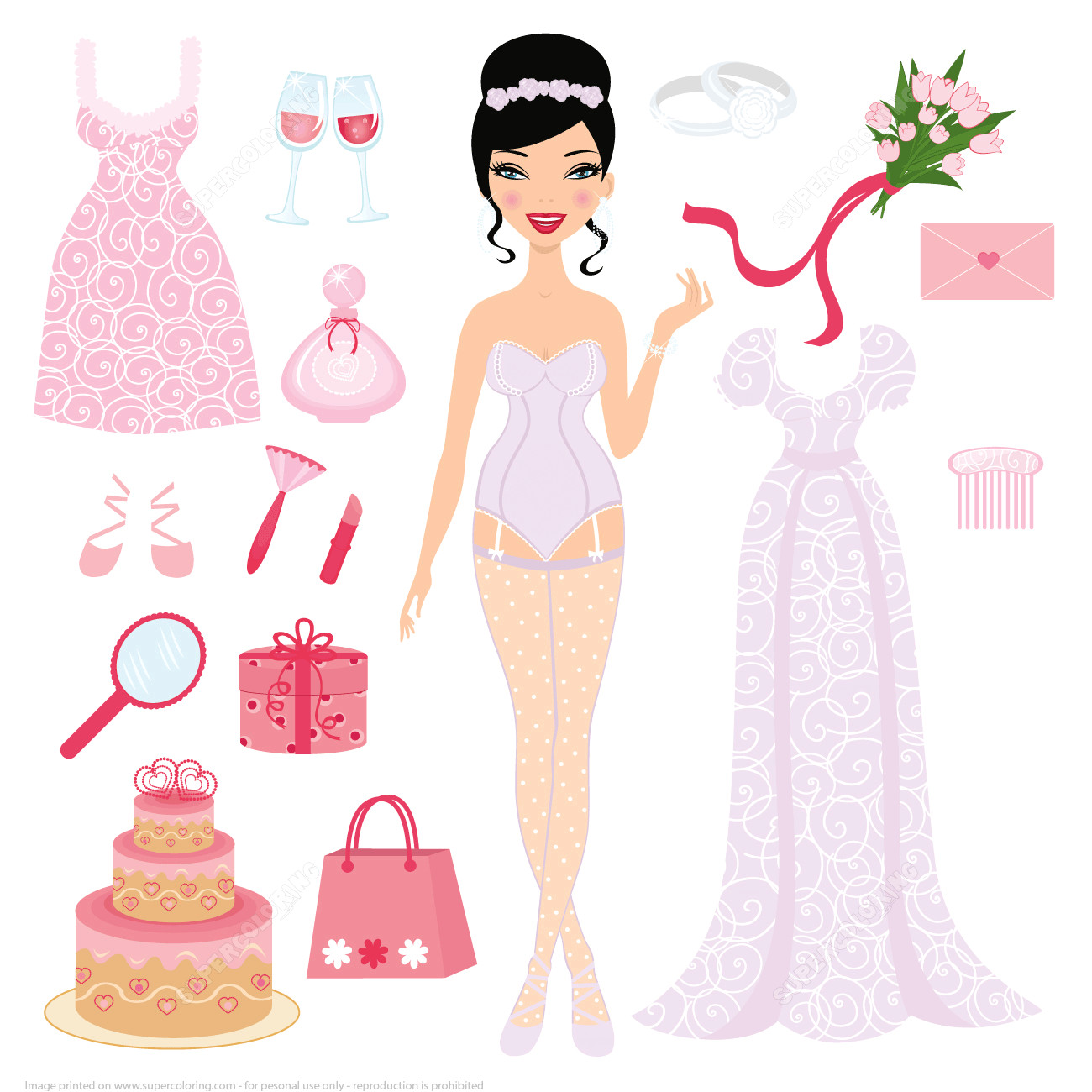 dress up bride paper doll for wedding ceremony