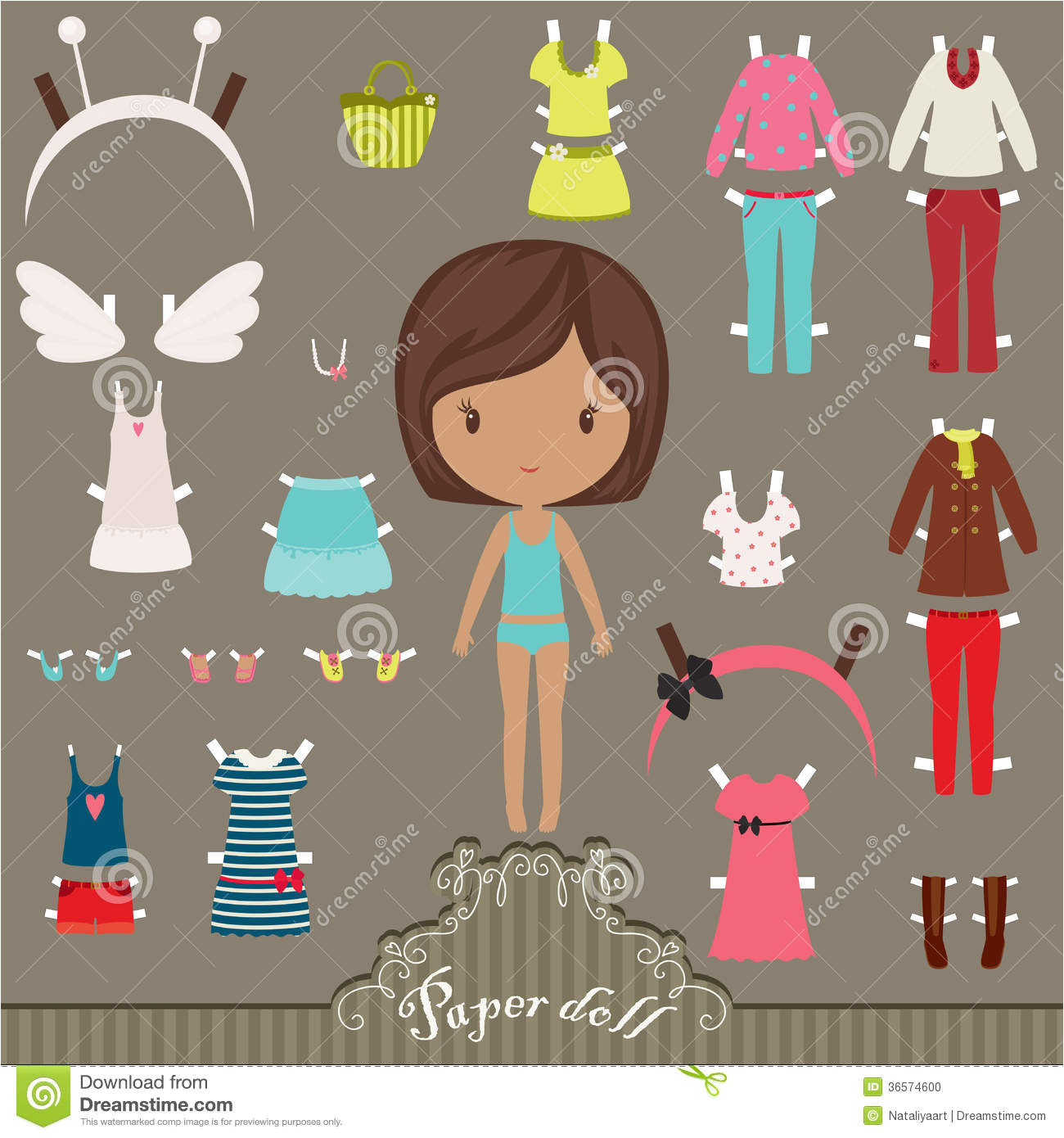 stock photo paper doll outfits dress up body template image36574600