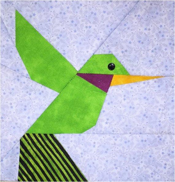 hummingbird paper pieced block pattern
