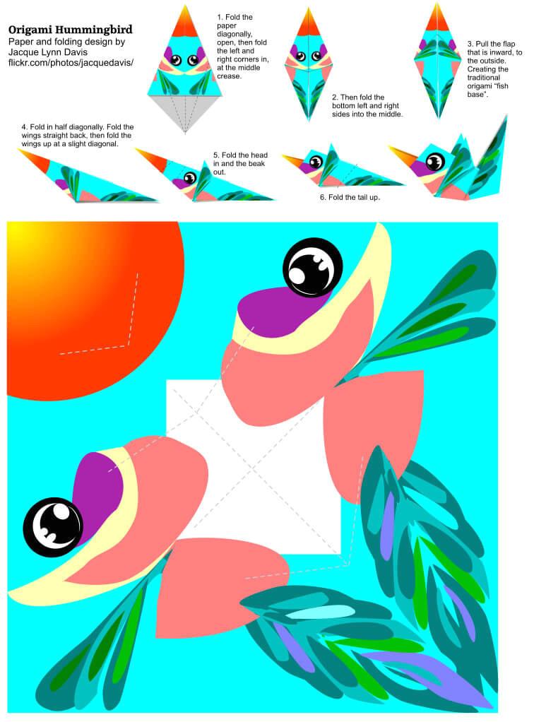 origami hummingbird template