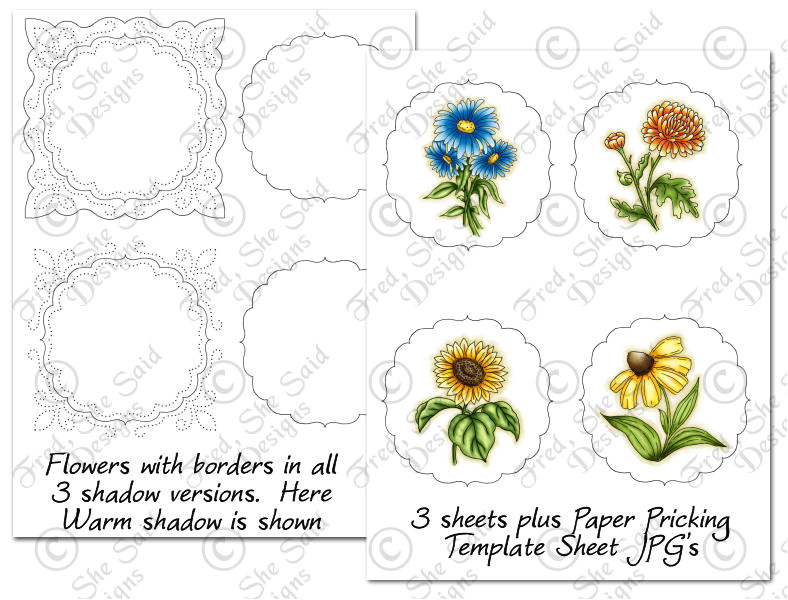 precoloured fall flowers paper pricking