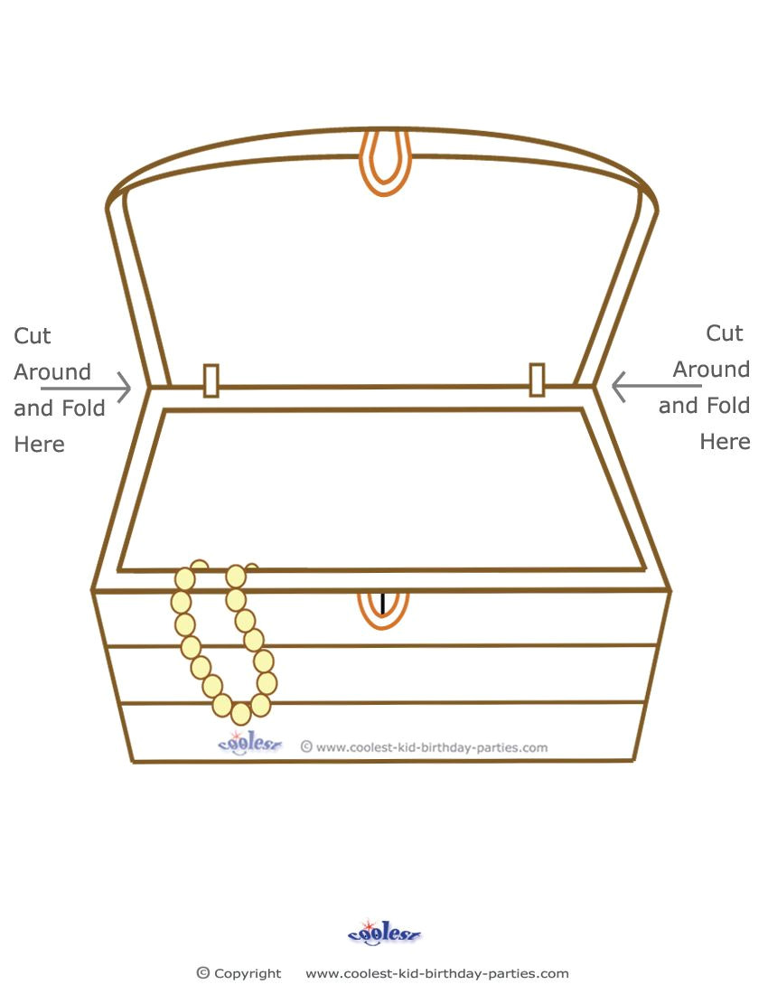 Paper Treasure Chest Template Free Treasure Coloring Pages Blank Printable Treasure