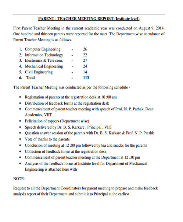 Parent Teacher Meeting Report Template 16 Meeting Report Templates Free Sample Example format