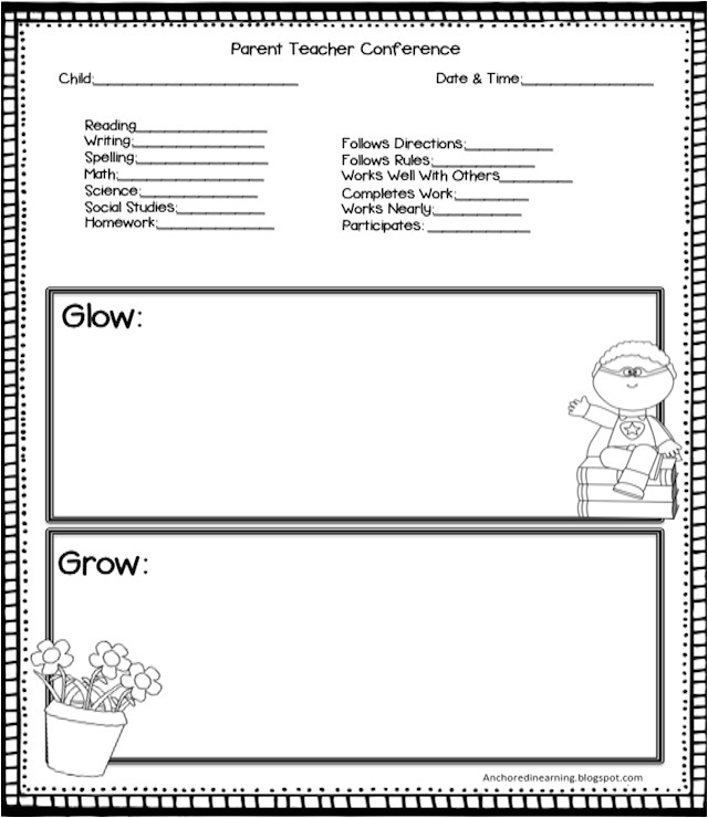 Parent Teacher Meeting Report Template Anchored In Learning You Oughta Know August Blog Hop