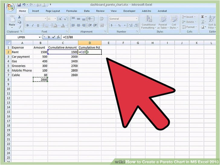 create a pareto chart in ms excel 2010