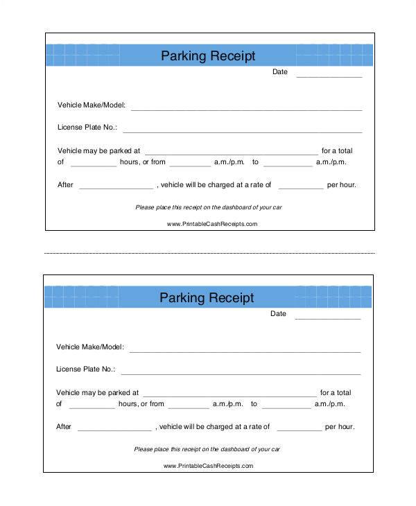 parking receipt template free