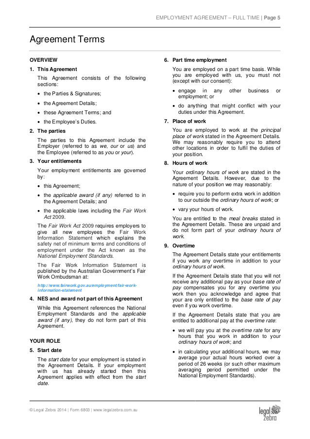 Part Time Employment Contract Template Free Part Time Employment Agreement Template Sample
