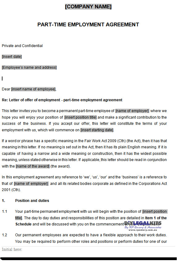 Part Time Employment Contract Template Free Part Time Employment Contracts Template