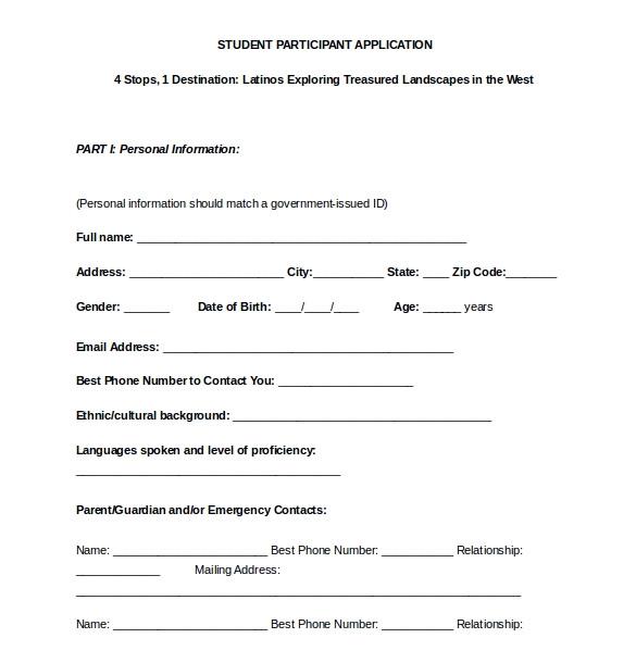 Participant Registration form Template 15 College Application Templates Pdf Doc Free