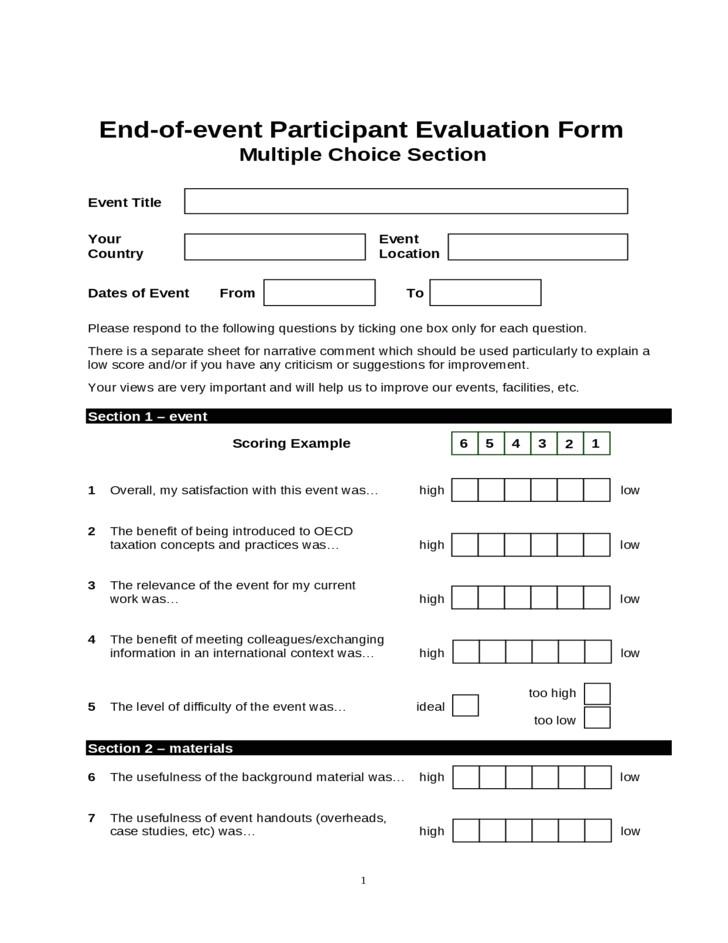 free end of event participant evaluation form