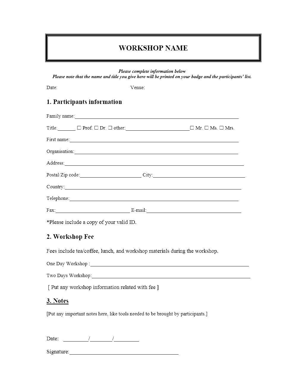 Participant Registration form Template event Registration form Template Microsoft Word