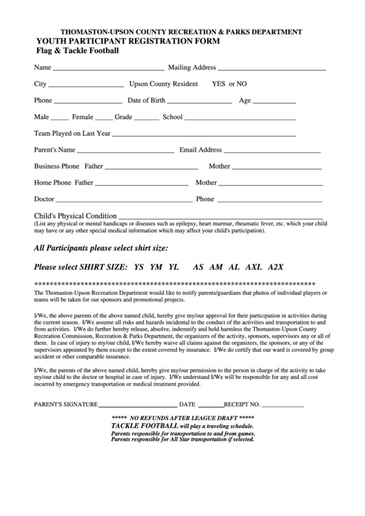 flag tackle football youth participant registration form thomaston upson county recreation parks department