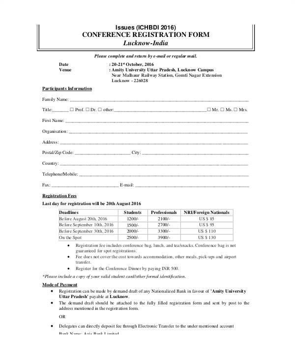 Participant Registration form Template Printable Registration form Template Vastuuonminun