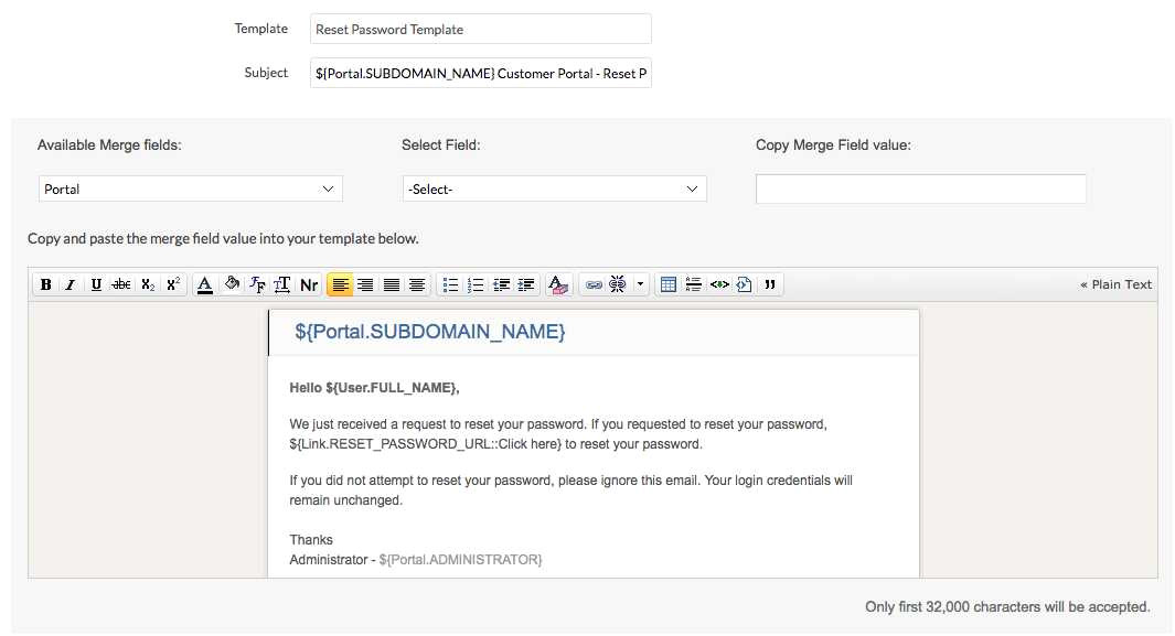 customer portal design from change password email template