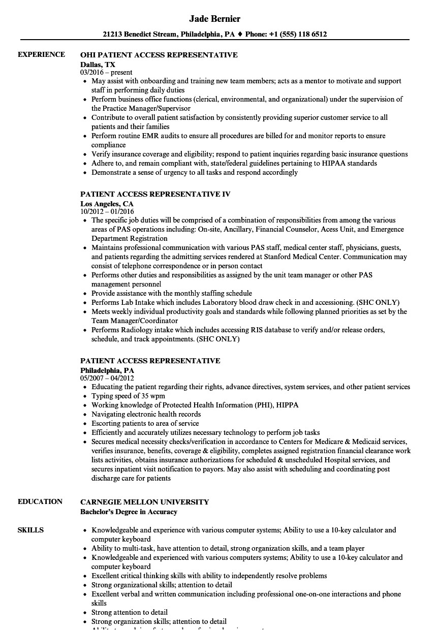 Patient Access Representative Resume Sample Patient Access Representative Resume Samples Velvet Jobs