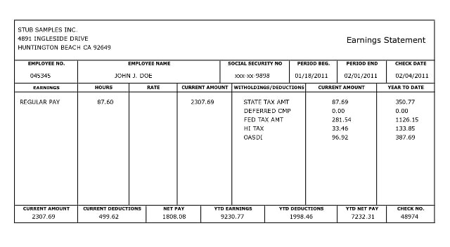 Paycheck Stub Template In Microsoft Word 10 Pay Stub Templates Word Excel Pdf formats