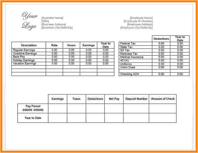 9 paycheck stub template in microsoft word
