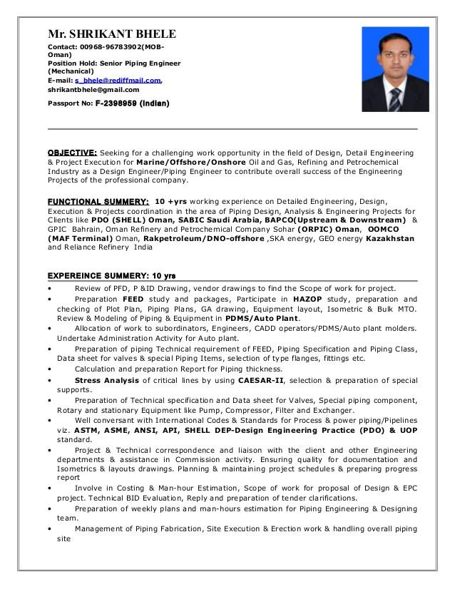 3855 pdms piping designer resume