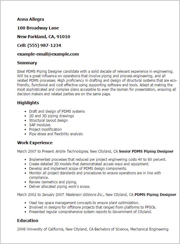 Pdms Piping Designer Resume Sample Pdms Piping Designer Resume Template Best Design Tips