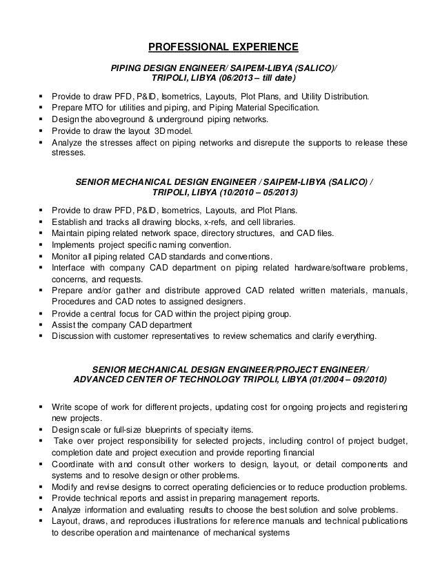 piping designer resume sample