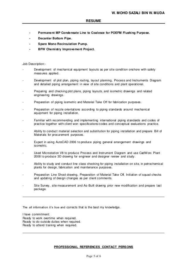 resume wan sazali pdms piping designer