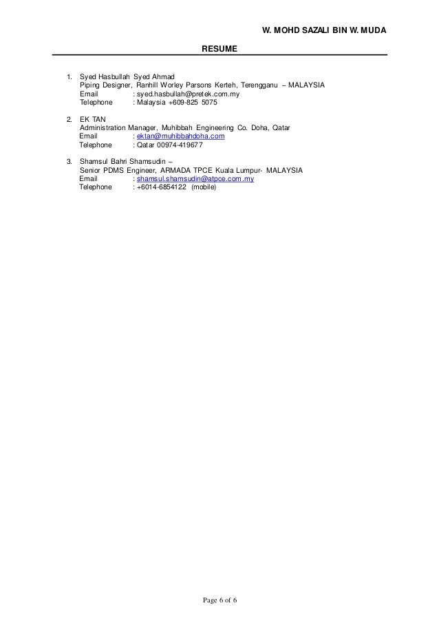 Pdms Piping Designer Resume Sample Resume Wan Sazali Pdms Piping Designer