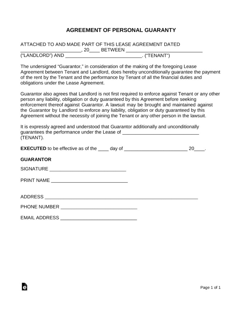 agreement letter for guarantor