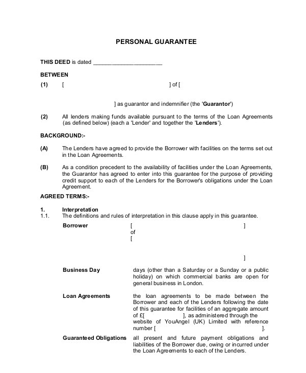 personal guarantee template uk
