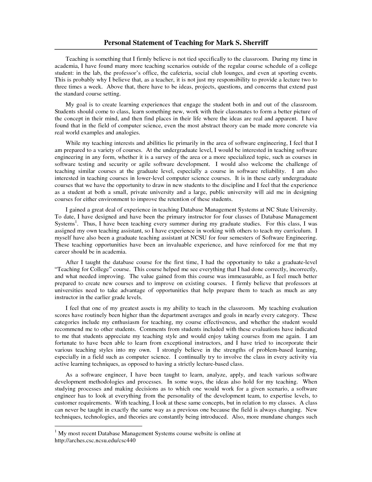 Personal Statement Template for Teaching Writing A Graduate Personal Statement