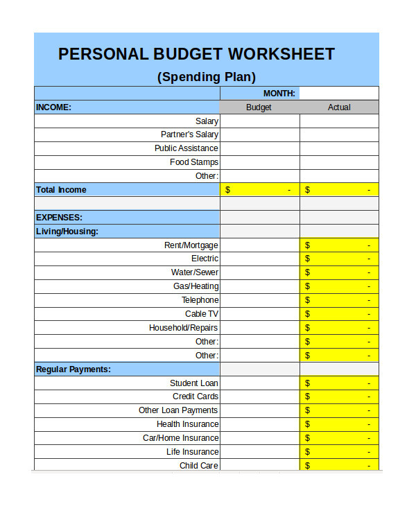 free personal budget